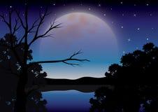 Piękno księżyc w naturze, Wektorowy ilustracja krajobraz Obrazy Stock
