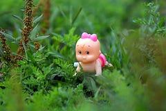 piękno lala w z trawy tłem zdjęcia royalty free