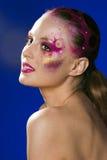 Piękno młoda kobieta z kreatywnie Halloween uzupełniał, tajemnicy świecidełko Fotografia Stock