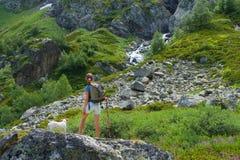 Piękno młodej kobiety podróż z plecaka i psa dźwigarką Russel Obraz Royalty Free