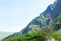 Piękno młodej kobiety podróż z plecakiem Obraz Royalty Free