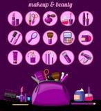 Piękno, makeup ikony i Makeup torba z beautician narzędziami, royalty ilustracja