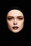 Piękno makijaż piękna kobiety twarz jak maska kobiety maska odizolowywa na czerni Obrazy Royalty Free
