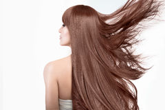 Piękno model z wspaniały długie włosy atrakcyjnej tła grępli latający szarzy włosiani damy potomstwa Zdjęcia Royalty Free