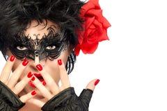 Piękno mody kobieta z Elegancką maską Czerwone wargi i manicure Zdjęcie Stock