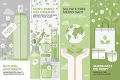 Piękno naturalnych kosmetyków sztandaru płaski set Obraz Royalty Free