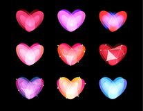 Piękno niezwykli serca inkasowi Abstrakcjonistyczny poligonalny projekt Walentynka dnia symbole, wektorowy ilustration Cyber miło royalty ilustracja