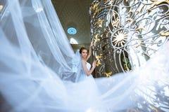 Piękno panna młoda w bridal todze z bukietem i koronkowa przesłona w naturze zdjęcia stock