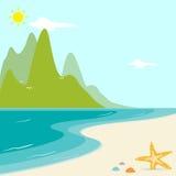 Piękno plaża w lecie Obrazy Royalty Free