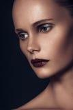 Piękno portret bardzo piękna brown włosiana europejska młoda dziewczyna, zdjęcie stock