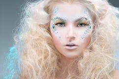 Piękno portret kobieta z uzupełniał Fotografia Stock