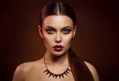 Piękno portret kobieta z złocistym makeup Obraz Stock