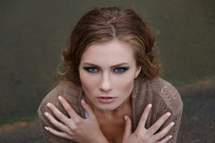 Piękno portret młoda blondynki dziewczyna plenerowa Fotografia Royalty Free