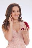 Piękno portret młoda kobieta szczęśliwy kochany prezent fotografia stock