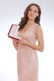 Piękno portret młoda kobieta szczęśliwy kochany prezent fotografia royalty free