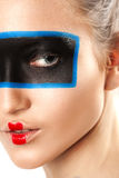 Piękno portret młoda kobieta z kreatywnie uzupełniał Obraz Royalty Free