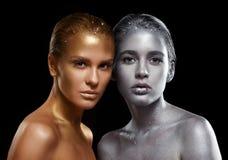 Piękno portret młode wspaniałe kobiety Złote i srebne dziewczyny Fotografia Stock