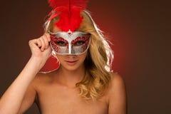Piękno portret Piękna młoda blondynki kobieta z Venice carn Zdjęcie Royalty Free