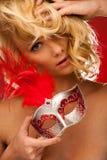 Piękno portret Piękna młoda blondynki kobieta z Venice carn Obrazy Royalty Free