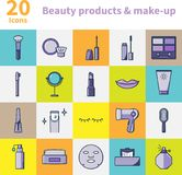 Piękno produkty i makijaż ikony ustawiać Fotografia Stock