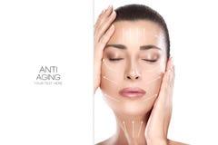 Piękno twarzy zdroju kobieta Operacja i Anty starzenia się pojęcie Zdjęcia Royalty Free