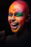 Piękno z kolorowym makijażem, ciemny tło Zdjęcie Royalty Free