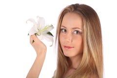 Piękno zdroju kobiety portret jesień tła piękna dziewczyna odizolowywał tematu sezonowego biel miękkie skóry Skincare pojęcie Fotografia Royalty Free