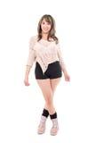 Piękny łaciński dziewczyny pozować odizolowywam na bielu zdjęcia stock