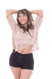 Piękny łaciński dziewczyny pozować odizolowywam na bielu fotografia royalty free