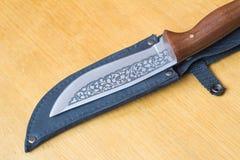 Piękny łowiecki nóż i skrzynka dla noża. Zdjęcia Stock
