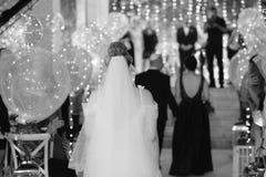 Piękny ślub i długa biel suknia pięknego czarny brunetki klasycznego dziewczyny splendoru przyglądający fotografii portreta pozy  fotografia royalty free