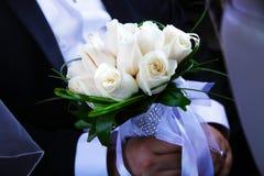 Piękny ślubny bukiet białe róże Obrazy Stock