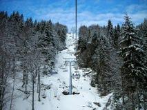 Piękny śnieżny zima krajobraz w halnym ośrodku narciarskim z sosnami, obraz stock