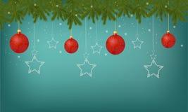 Piękny świąteczny kartka z pozdrowieniami z dekoracjami dekoruje zabawki ilustracja wektor
