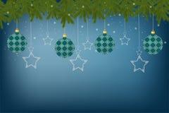 Piękny świąteczny kartka z pozdrowieniami z dekoracjami dekoruje zabawki royalty ilustracja