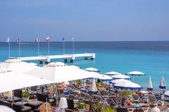 Piękny światło dzienne widok Ładny Cote d ` Azur morze z flaga Eu Obraz Royalty Free