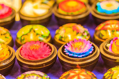 Piękny świeczki Aromatyczny robić przypominać lotosu Kolorowy c obrazy royalty free