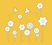 Tło. Kwiaty i motyle Zdjęcia Stock