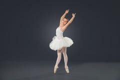 Piękny żeński baletniczy tancerz na popielatym tle Zdjęcia Stock