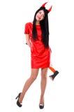Piękny żeński demon trzyma cioskę za plecy Zdjęcie Stock