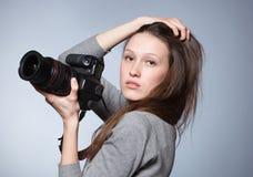 piękny żeński fotograf Fotografia Stock