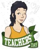 Piękny Żeński pedagog z powitanie odświętności nauczycieli ` Tasiemkowym dniem, Wektorowa ilustracja ilustracja wektor