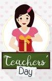Piękny Żeński pedagog z prezentem dla nauczyciela ` dnia świętowania, Wektorowa ilustracja ilustracja wektor