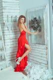Piękny żeński portret z choinką zdjęcia stock