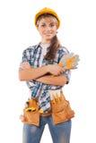 Piękny żeński pracownik (agitaci fotografia) Zdjęcie Stock