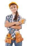 Piękny żeński pracownik budowlany na fotografii z Zdjęcie Stock