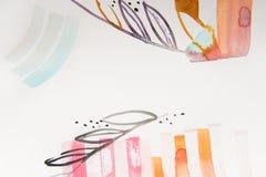 Piękny abstrakcjonistyczny akwareli tło z kwiecistymi elementami Zdjęcie Stock