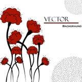 Piękny abstrakcjonistyczny tło z czerwonymi kwiatami Zdjęcie Royalty Free