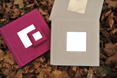 Piękny album fotograficzny na jesień liściach obrazy royalty free