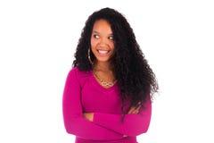 Piękny amerykanin afrykańskiego pochodzenia kobiety zakończenie w górę portreta Fotografia Stock